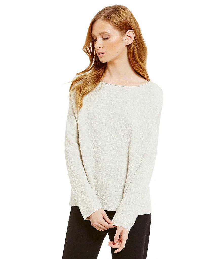 Eileen Fisher Bateau Neck Long Sleeve Box Top