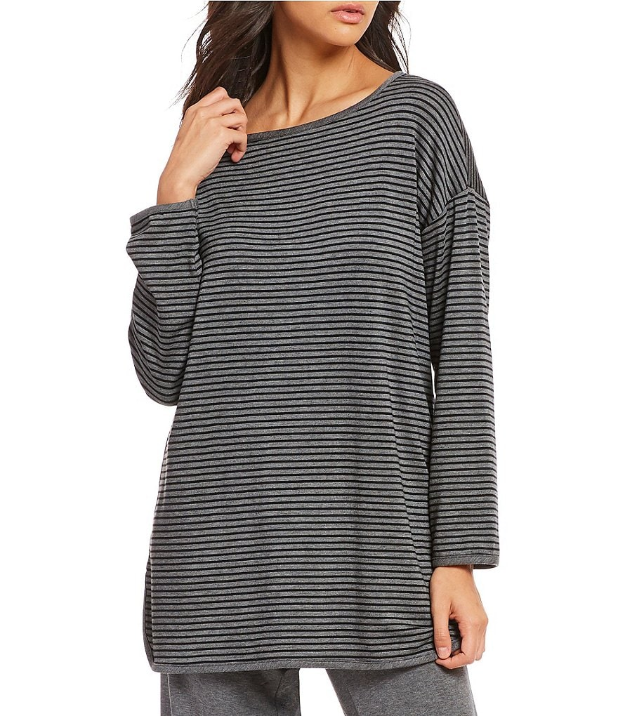 Eileen Fisher Bateau Neck Striped Tunic Top