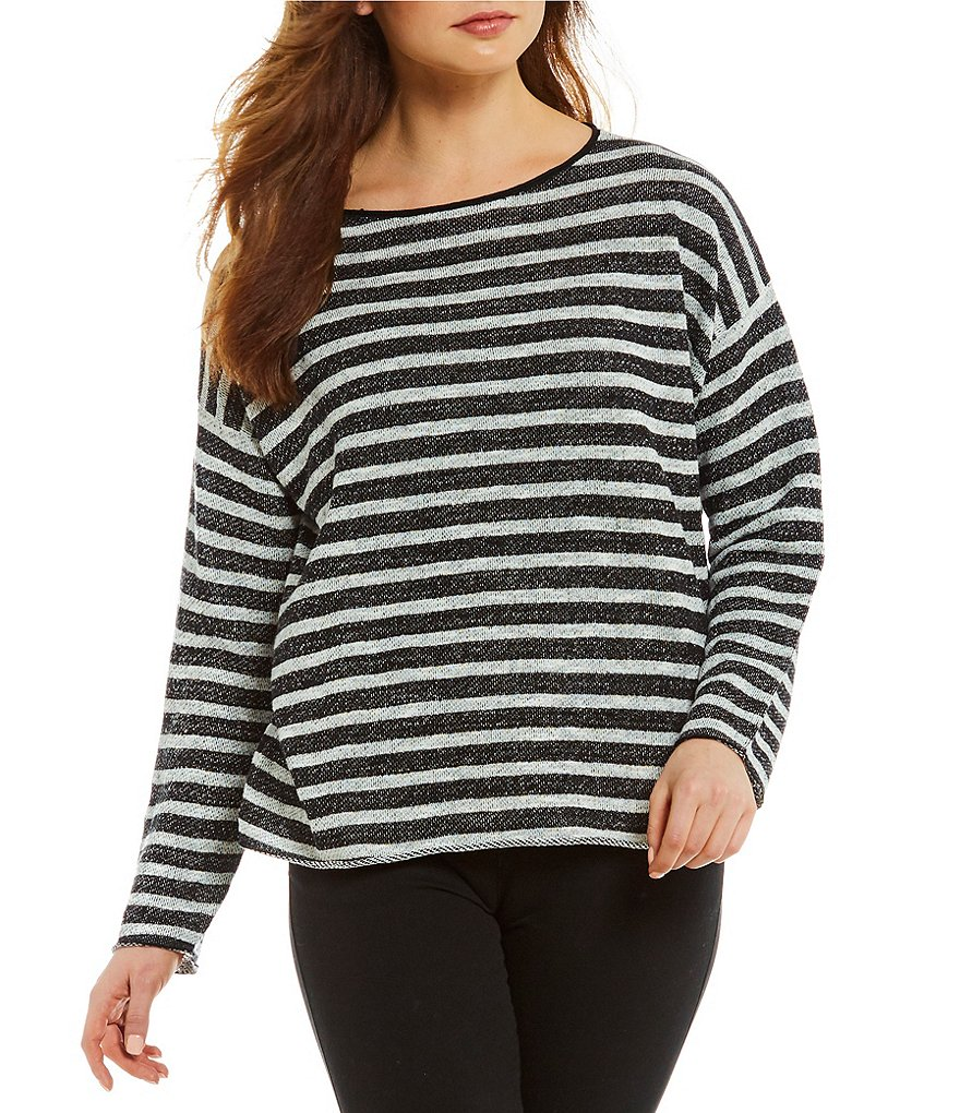 Eileen Fisher Striped Bateau Neck Button Back Top