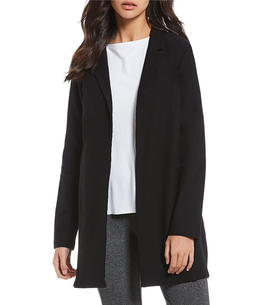 Eileen Fisher Classic Collar Long Belted Jacket