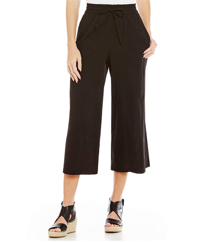 Eileen Fisher Cotton Gauze Wide Cropped Pants