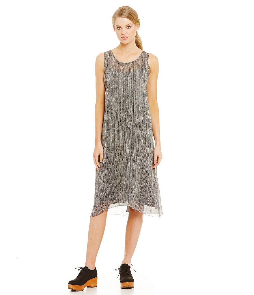 Eileen Fisher Firefly Print Sleeveless U-Neck Dress