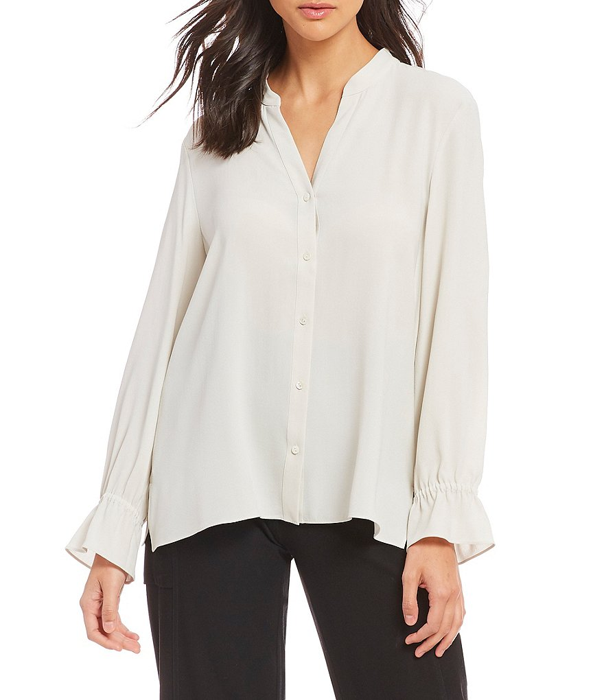 Eileen Fisher Georgette Crepe Mandarin Collar Poet Sleeve Button Front Shirt