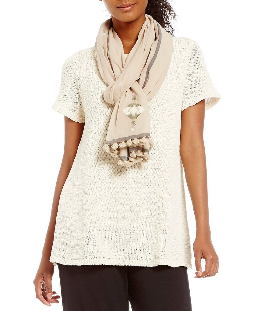 Eileen Fisher Pom-Trimmed Handloomed Organic Cotton Jamdani Diamonds Scarf