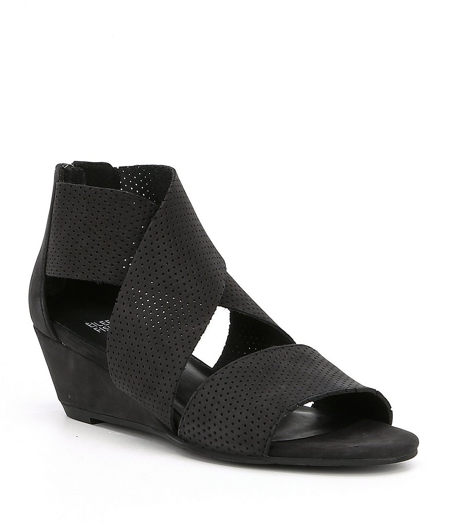 Eileen Fisher Kes2 Perforated Wedge Sandals