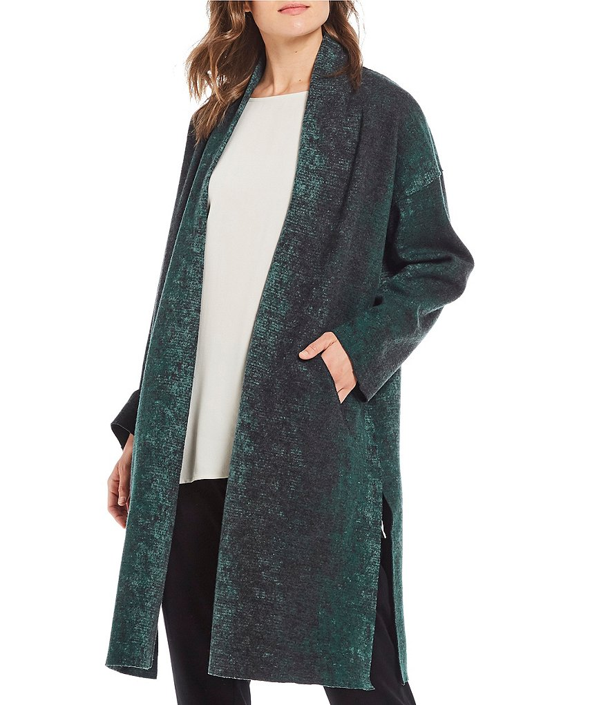 Eileen Fisher Knee Length Kimono Coat with Side Slits