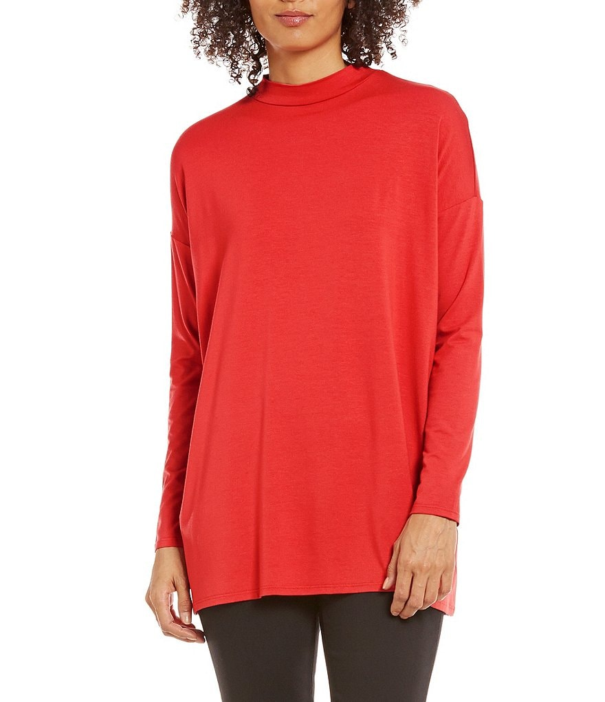 Eileen Fisher Lightweight Viscose Jersey Mock Neck Tunic