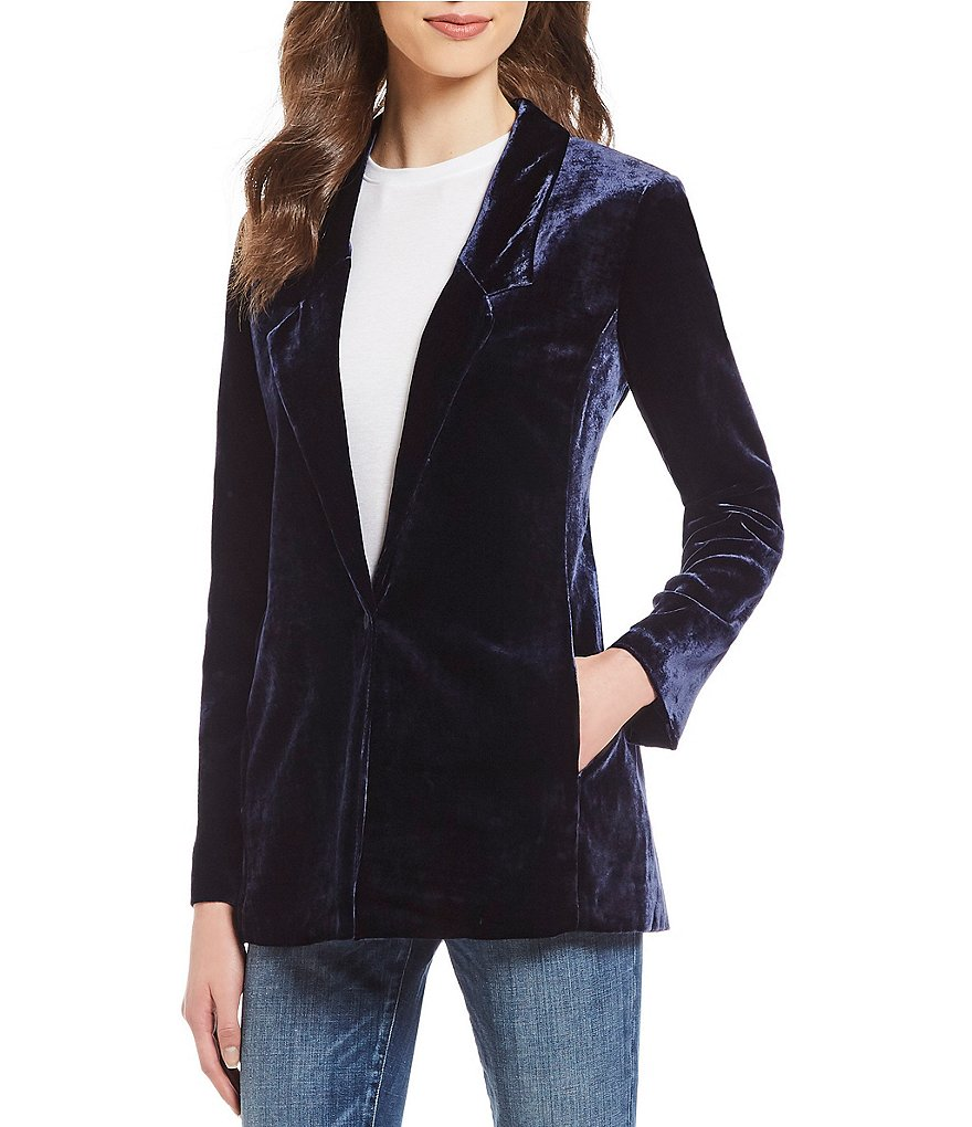 Eileen Fisher Notch Collar Long Velvet Blazer