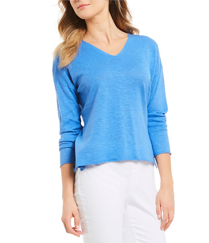 Eileen Fisher Petite Size V-Neck Box-Top
