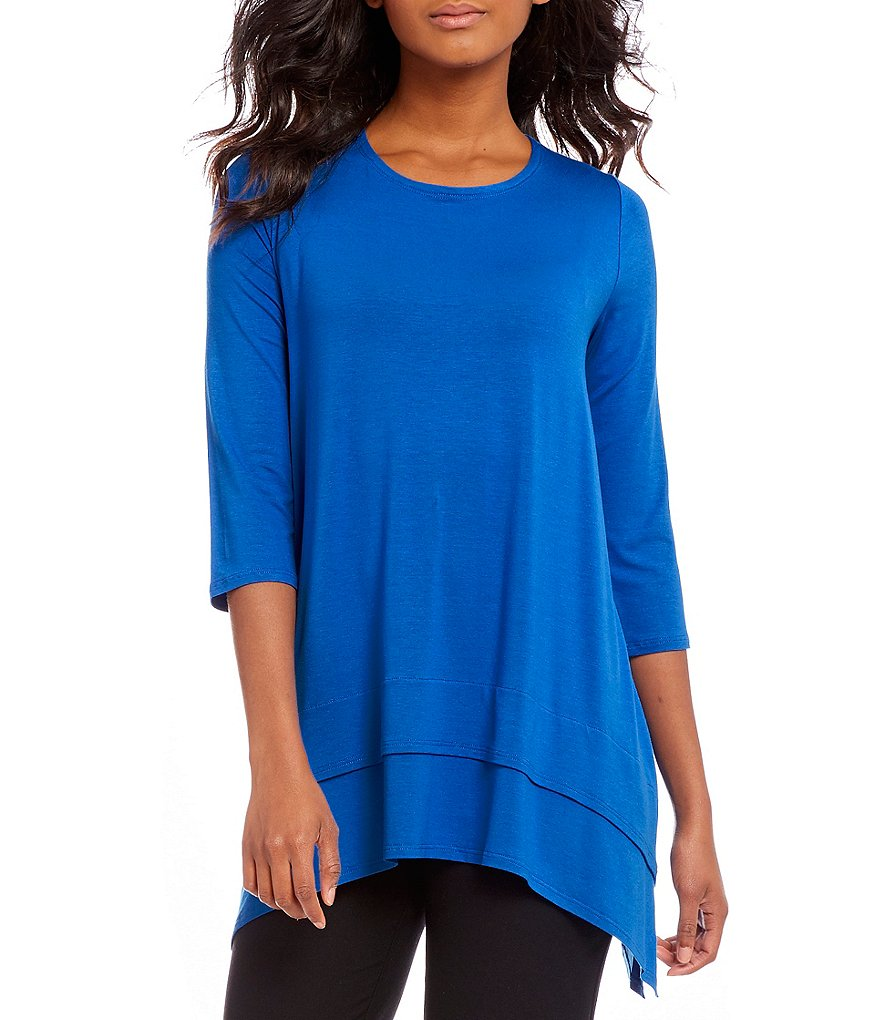 Eileen Fisher Petites Jewel Neck 3/4 Sleeve Tunic