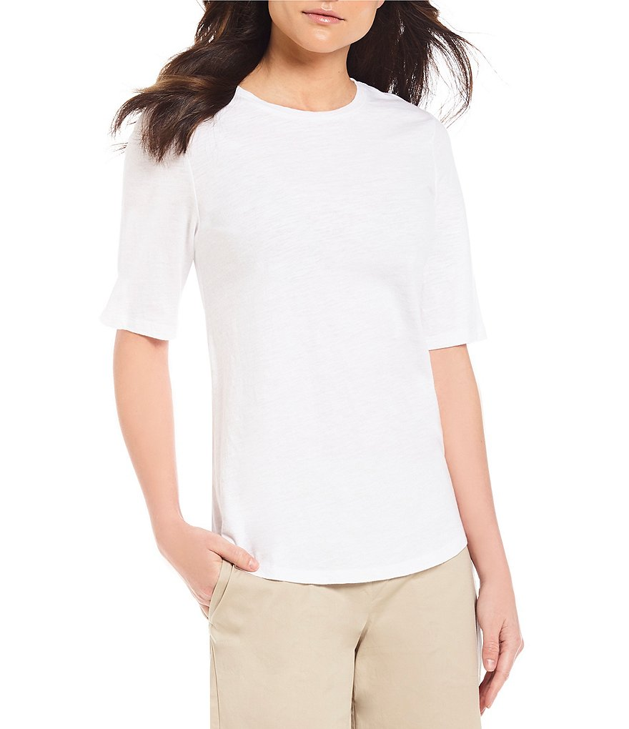 Eileen Fisher Petites Round Neck Elbow Sleeve Top