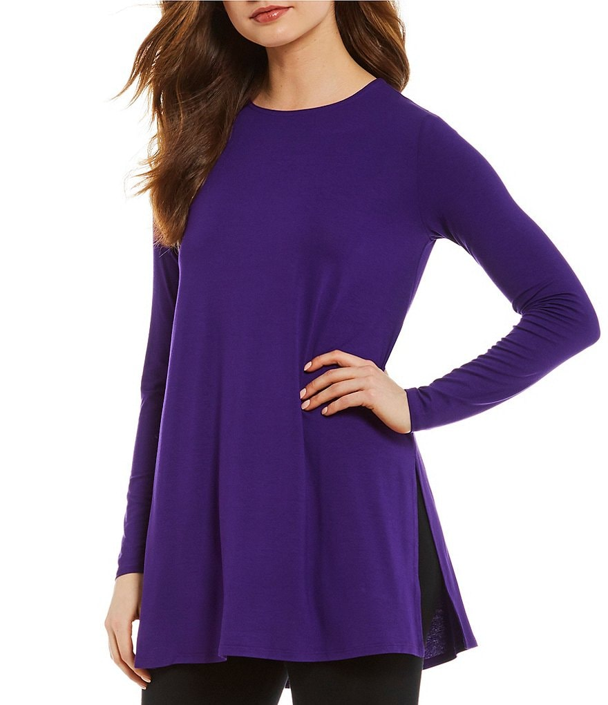 Eileen Fisher Petites Round Neck Side Slits Tunic