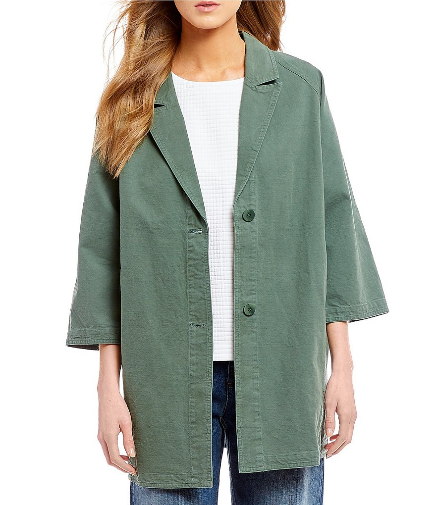 Eileen Fisher Petites Stand Collar A-Line Jacket