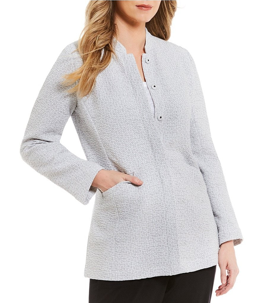 Eileen Fisher Petites Stand Collar Fitted Jacket