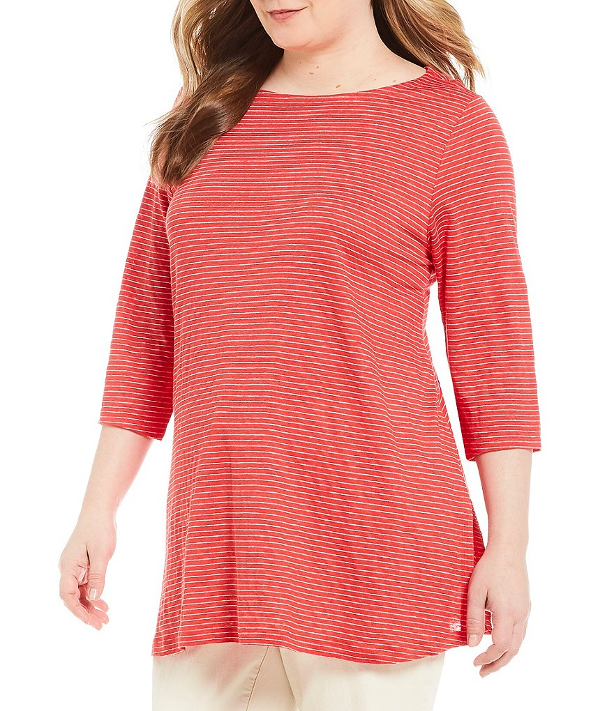 Eileen Fisher Plus Bateau Neck 3/4 Sleeve Striped Tunic