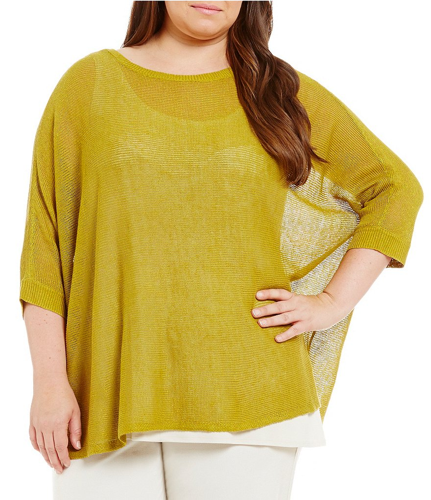 Eileen Fisher Plus Bateau Neck 3/4 Sleeve Top