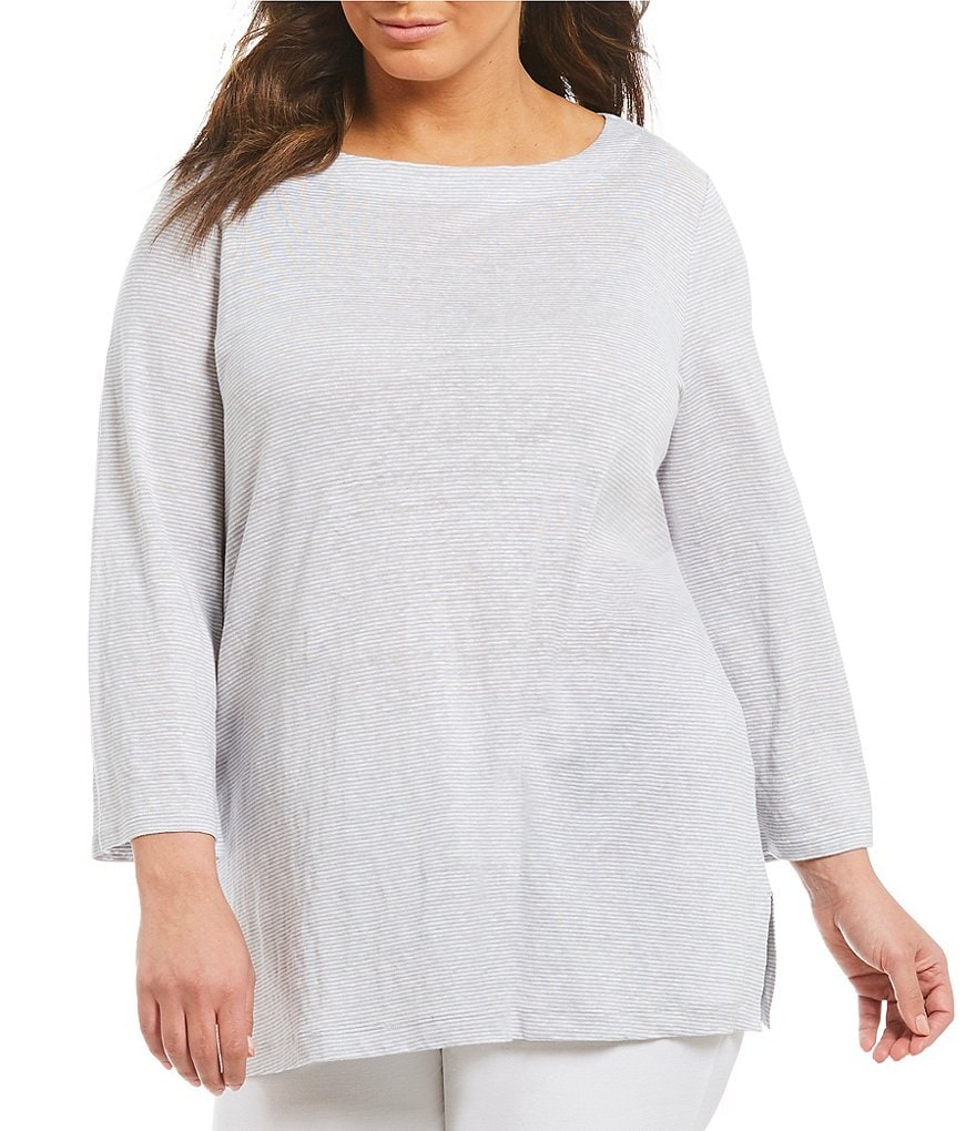 Eileen Fisher Plus Bateau Neck Bracelet Sleeve Top