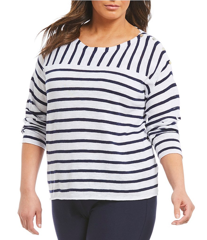 Eileen Fisher Plus Bateau Neck Top