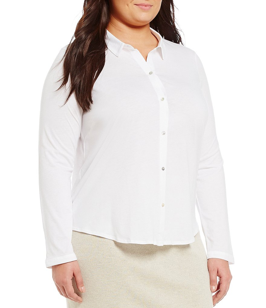 Eileen Fisher Plus Classic Collar Long Sleeve Solid Shirt
