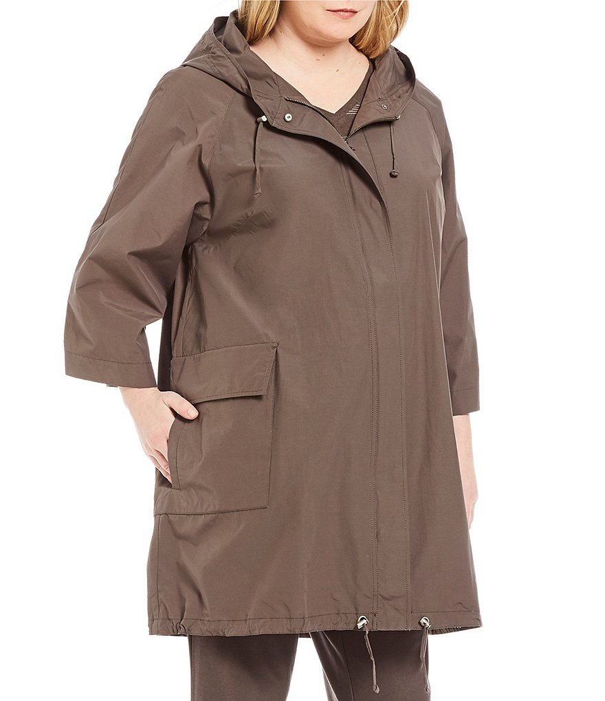 Eileen Fisher Plus Hooded 3/4 Sleeve Anorak