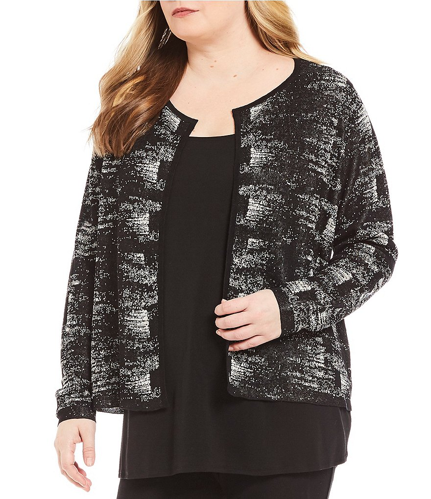 Eileen Fisher Plus Round Neck Cardigan