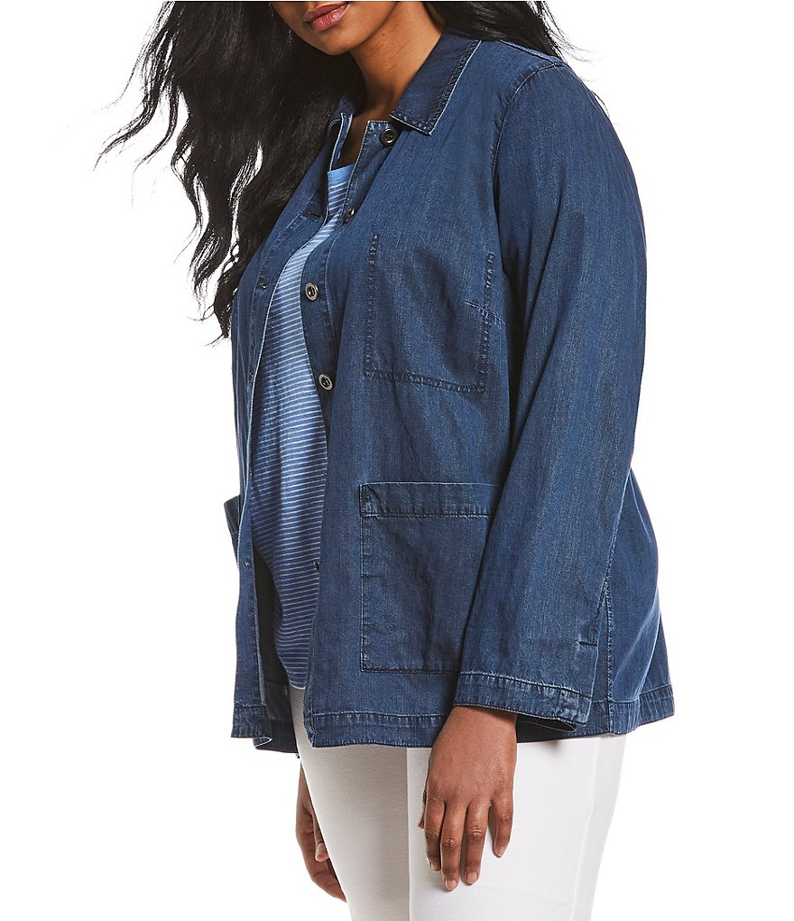 Eileen Fisher Plus Size Classic Collar Jacket