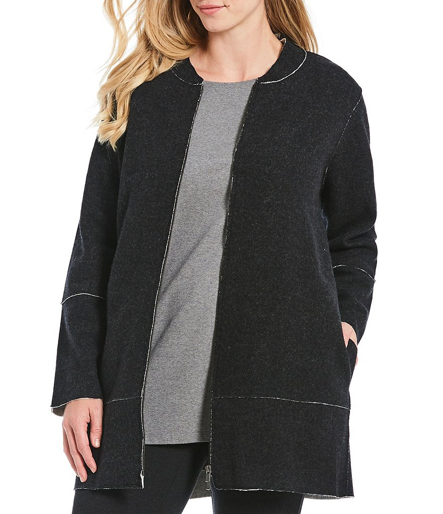 Eileen Fisher Plus Size Stand Collar Jacket