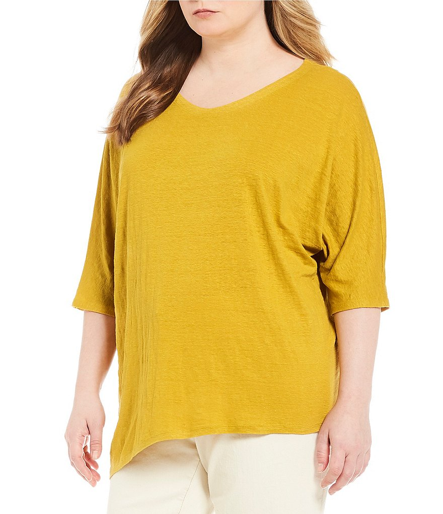Eileen Fisher Plus Soft V-Neck 3/4 Sleeve Top