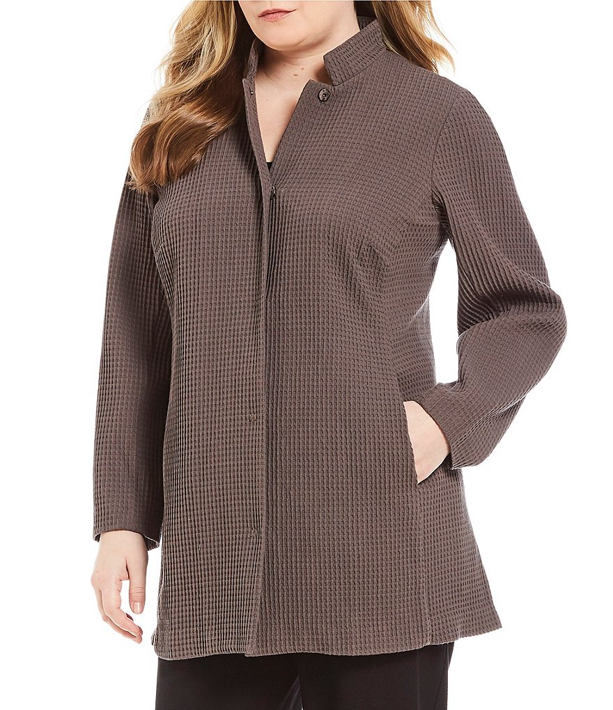 Eileen Fisher Plus Stand Collar Stretch Grid Jacket