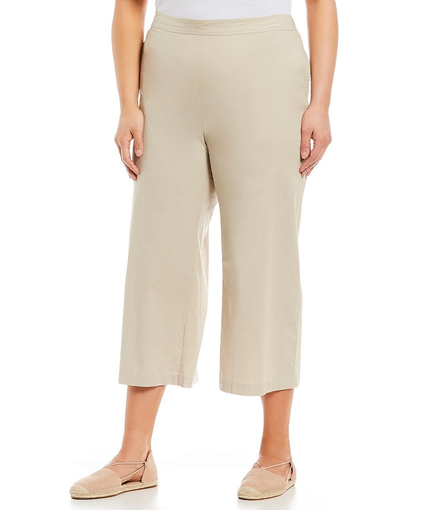 Eileen Fisher Plus Wide Leg Cropped Pants