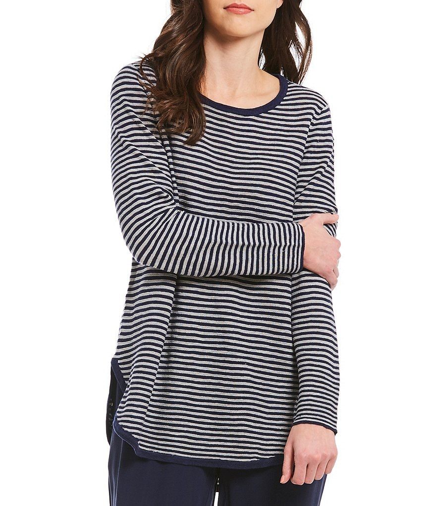 Eileen Fisher Striped Round Neck Top