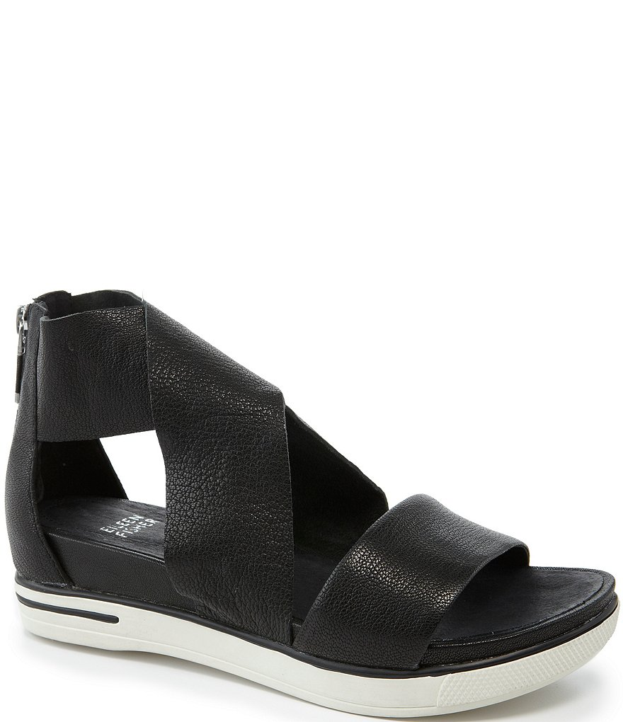 Eileen Fisher Sport Criss Cross Tumbled Leather Banded Sandals