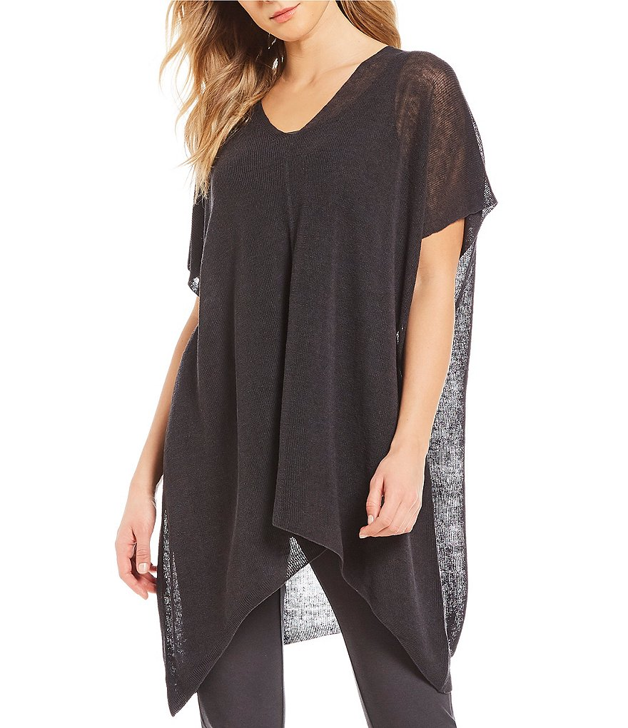 Eileen Fisher V-Neck Short Sleeve Poncho Top