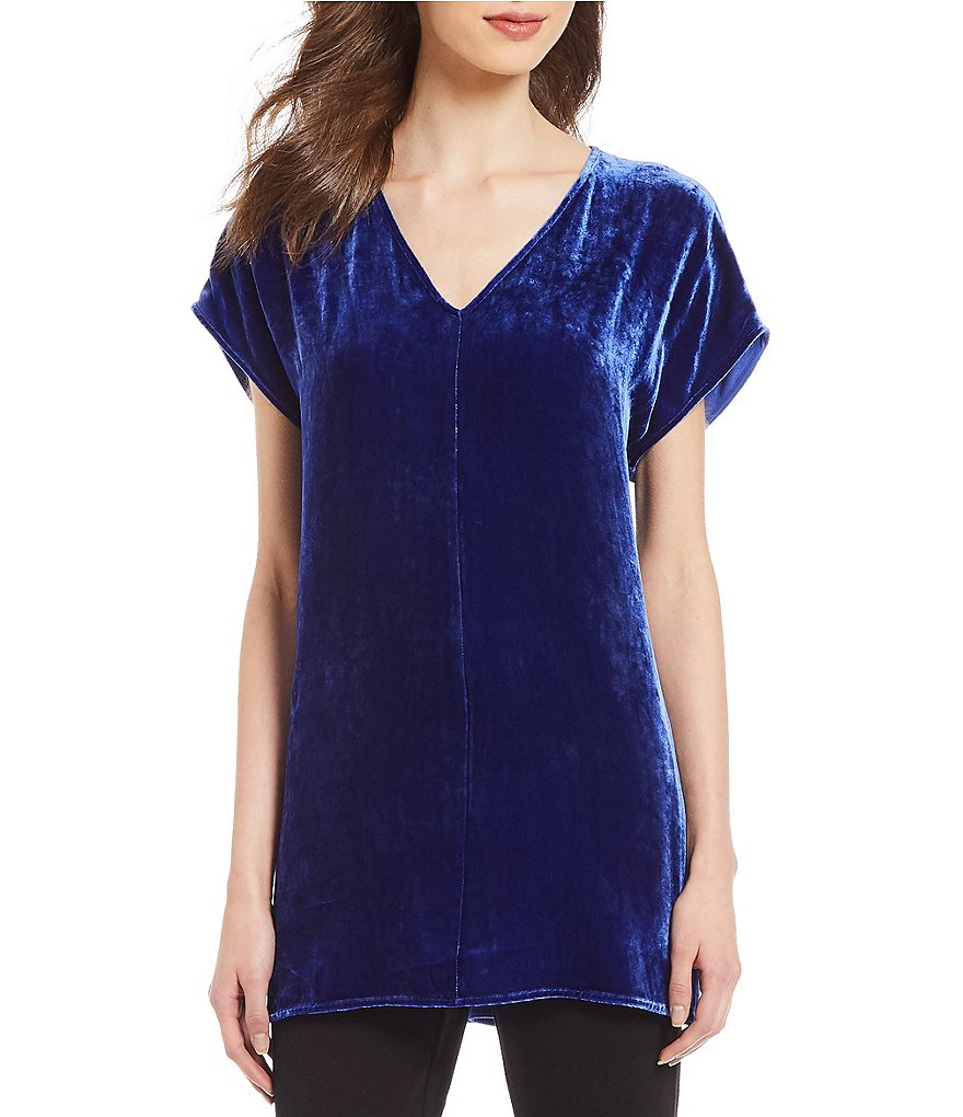 Eileen Fisher V-Neck Short Sleeve Velvet Tunic