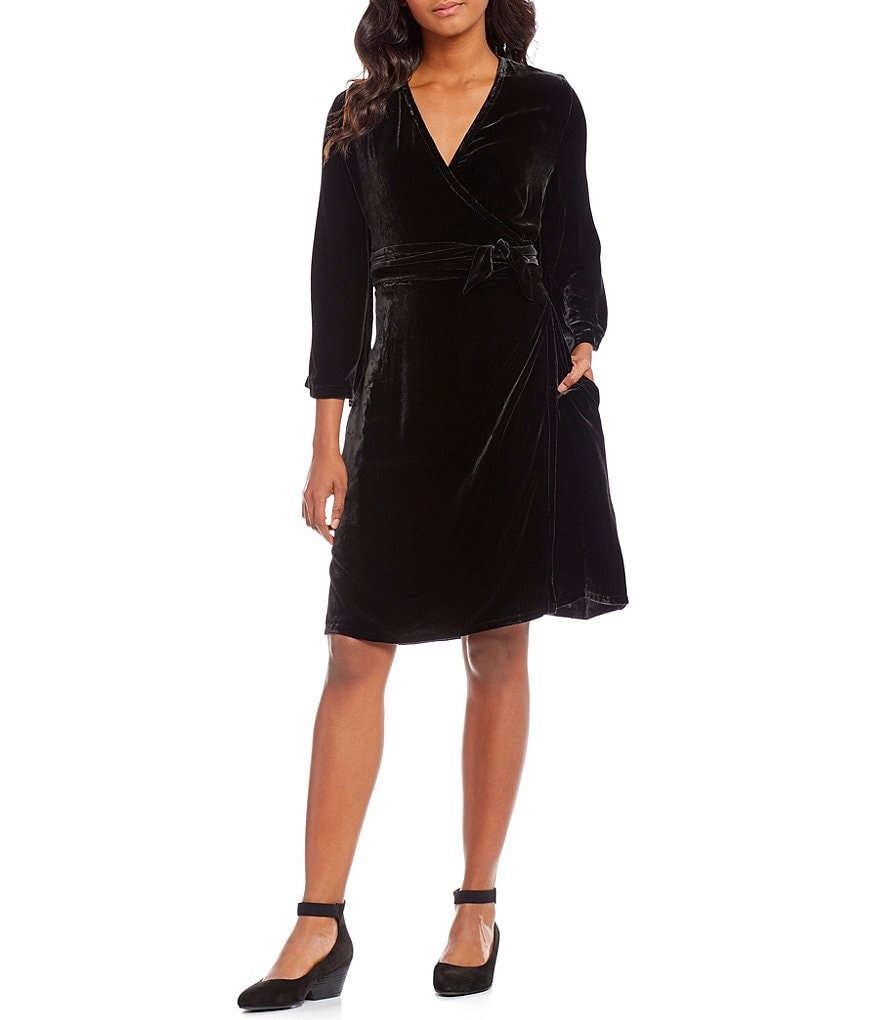 Eileen Fisher Velvet V-Neck 3/4 Sleeve Wrap Dress
