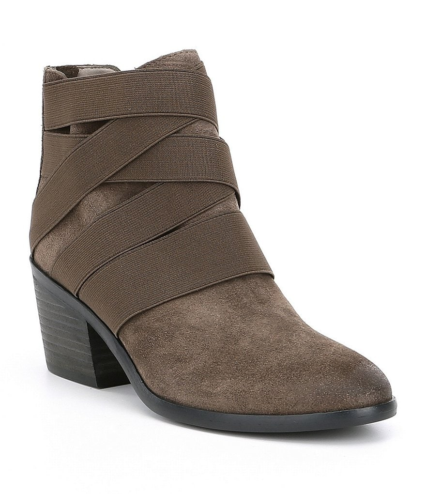 Eileen Fisher Willis Suede Back Zip Block Heel Booties