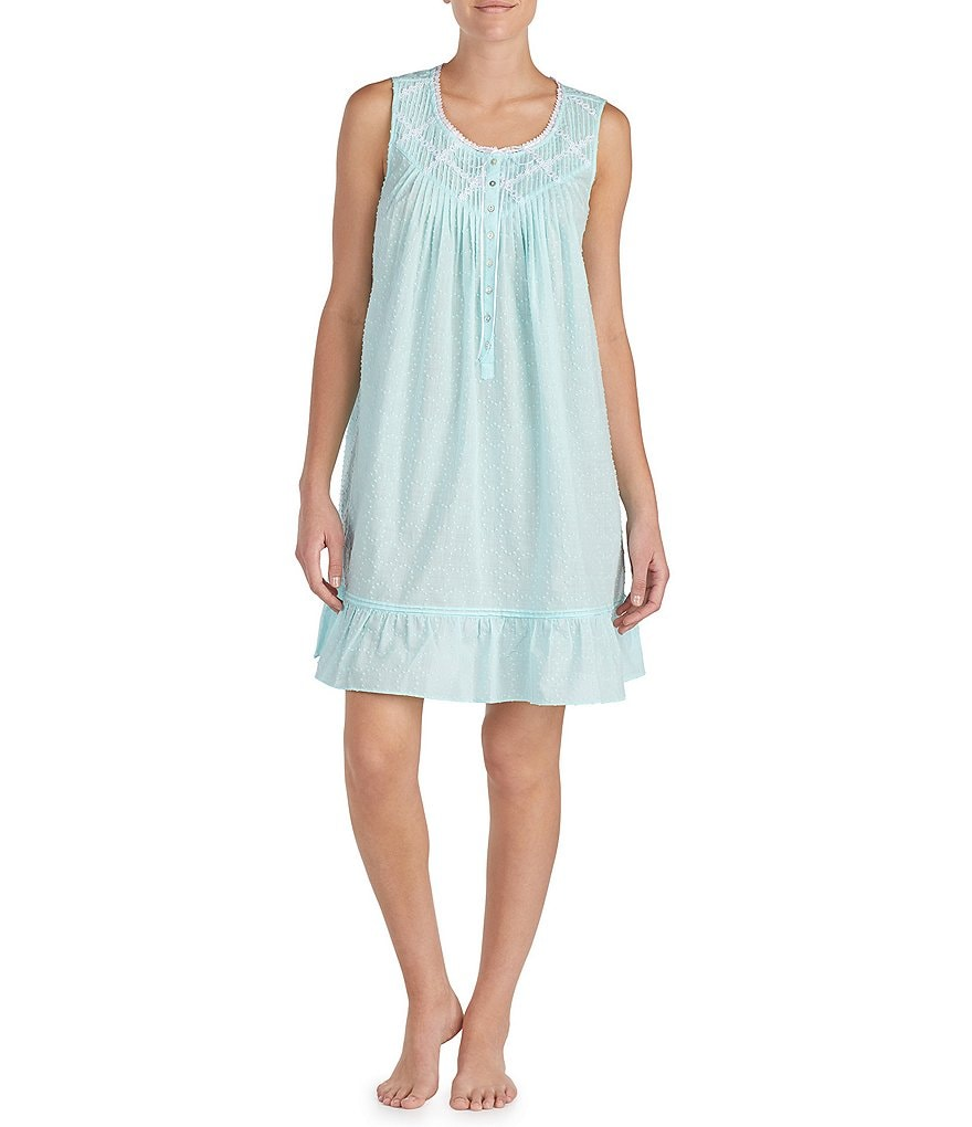 Eileen West Circle Dot-Print Short Nightgown