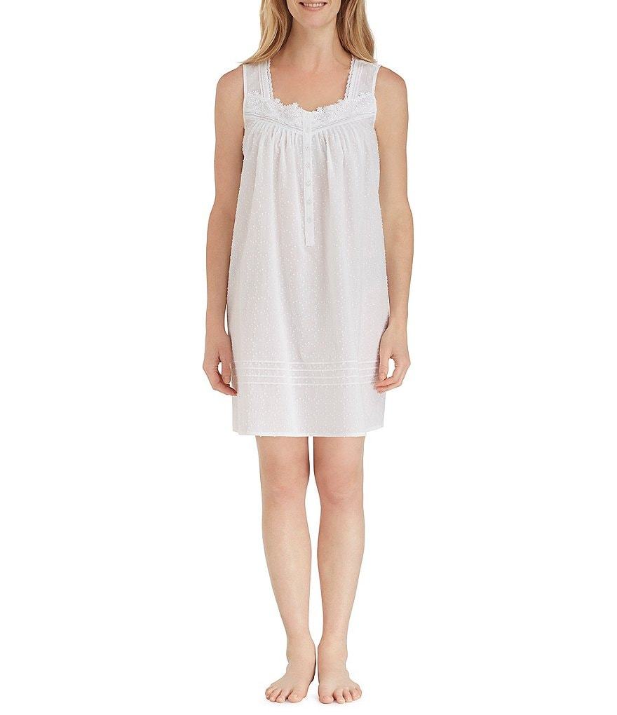 Eileen West Circle Dot-Printed Lawn Short Nightgown