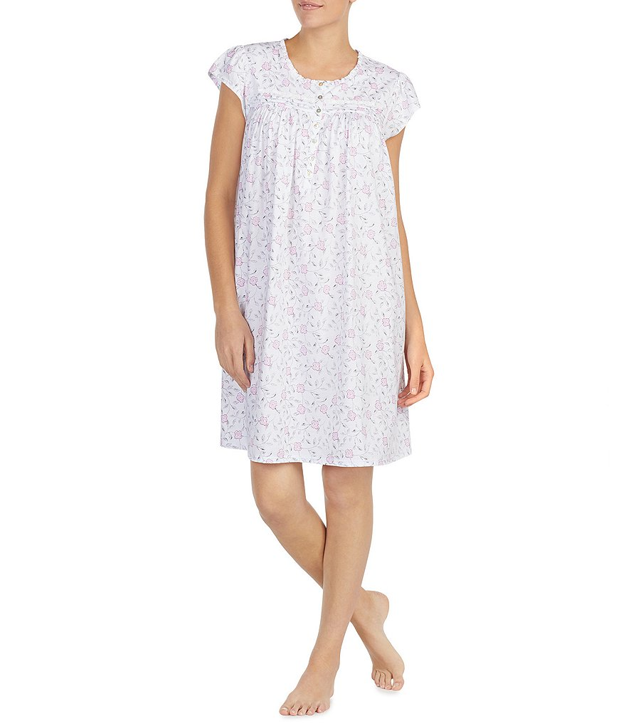 Eileen West Floral Ditsy-Printed Jersey Short Nightgown