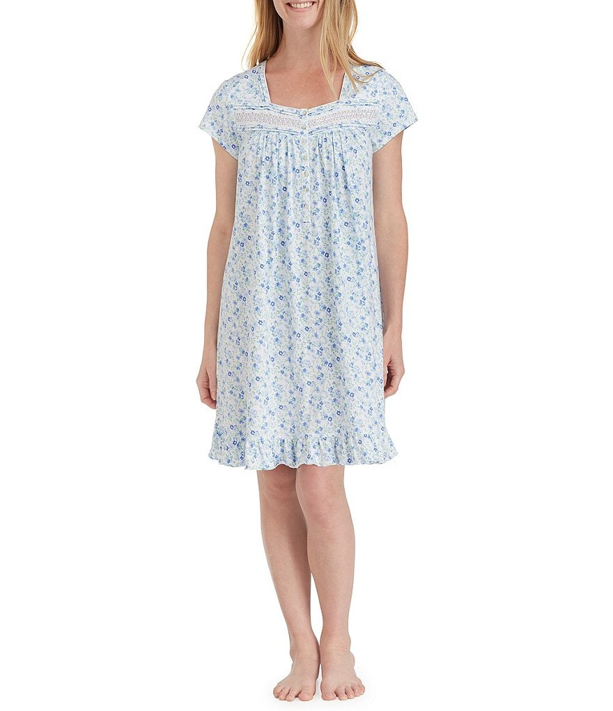 Eileen West Floral-Print Jersey Nightgown