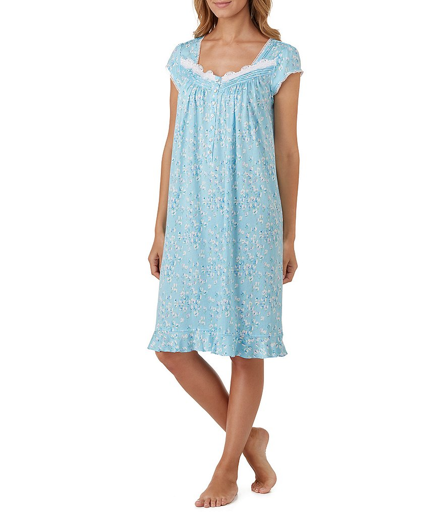 Eileen West Lace-Trimmed Floral Jersey Nightgown