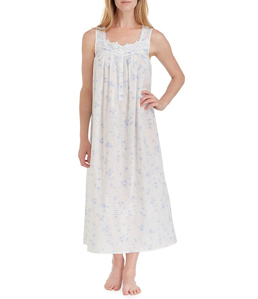 Eileen West White Floral-Print Lawn Ballet Nightgown