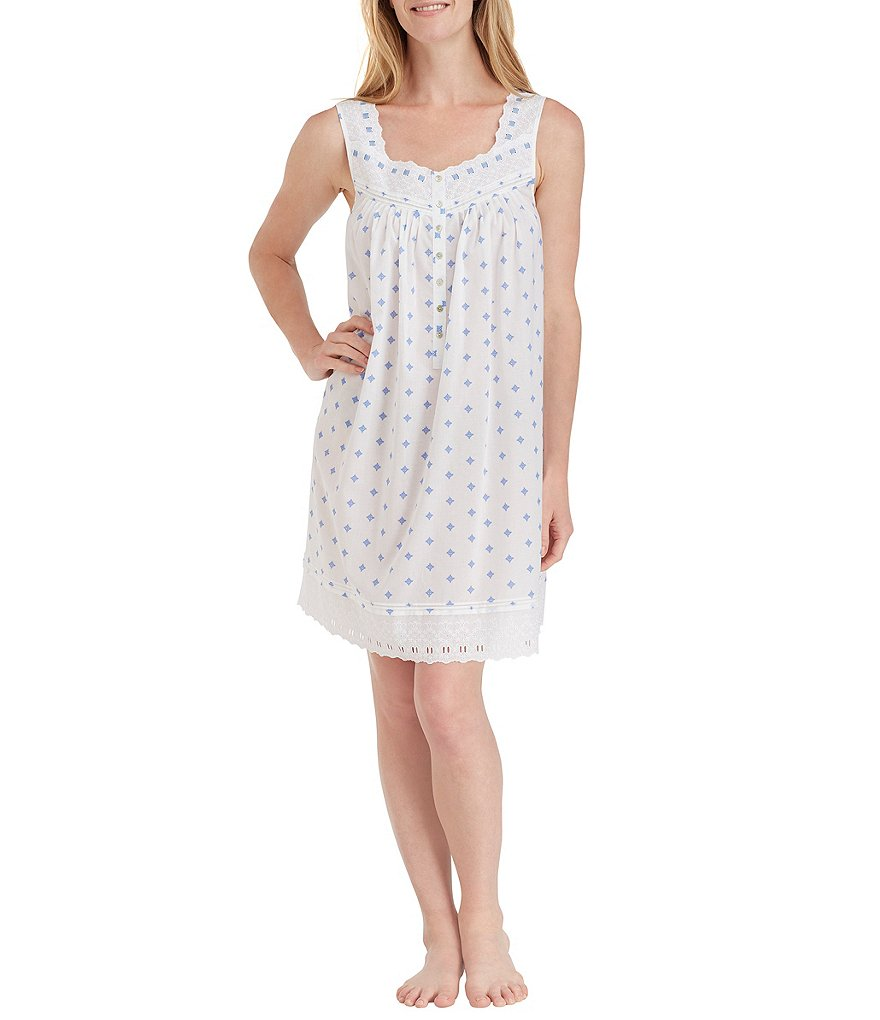 Eileen West Geometric Lawn Short Nightgown