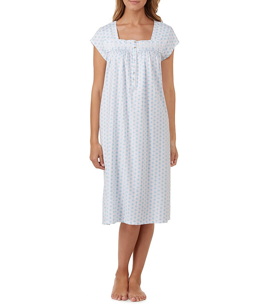 Eileen West Lace-Trimmed Geometric Jersey Ballet Nightgown