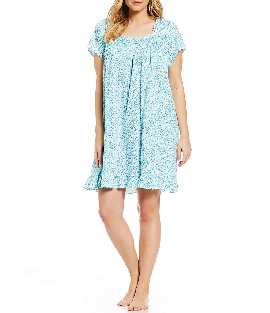 Eileen West Plus Daisy-Print Jersey Knit Short Nightgown