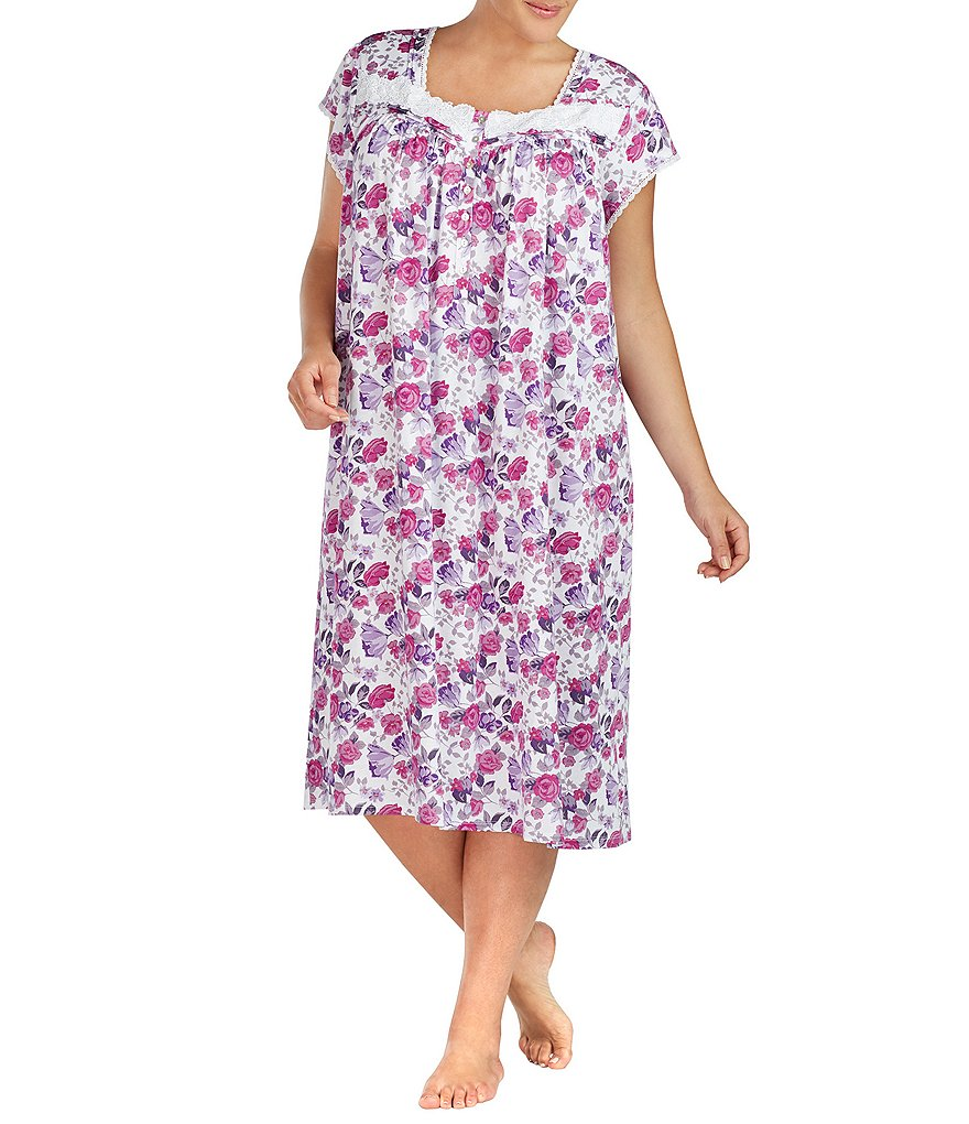 Eileen West Plus Floral Jersey Waltz Nightgown