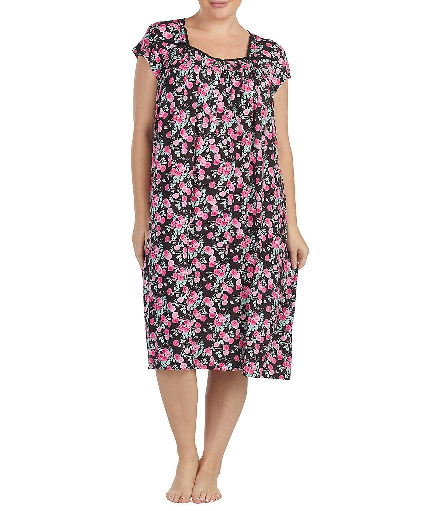 Eileen West Plus Floral-Printed Jersey Waltz Nightgown
