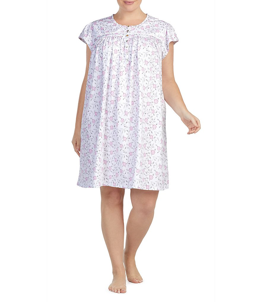 Eileen West Plus Floral Scroll-Printed Jersey Nightgown