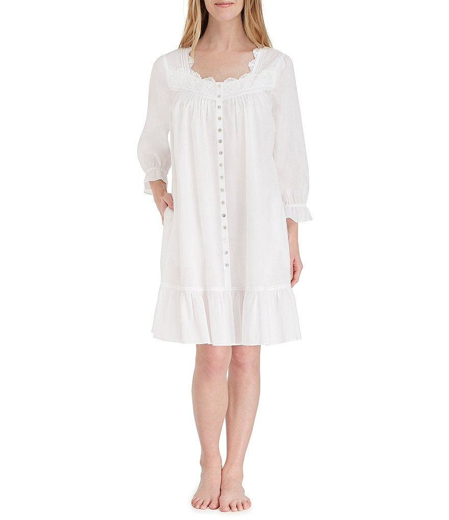 Eileen West Venis Lace-Trimmed Lawn Button-Front Nightgown