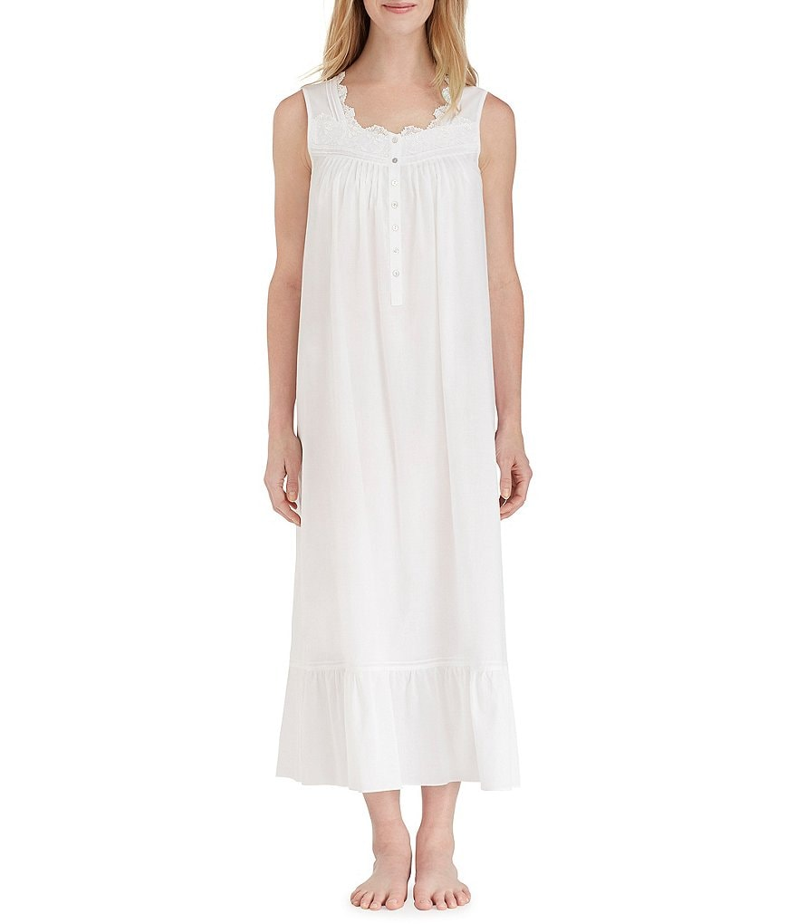 Eileen West Venise Lace-Trimmed Lawn Long Nightgown